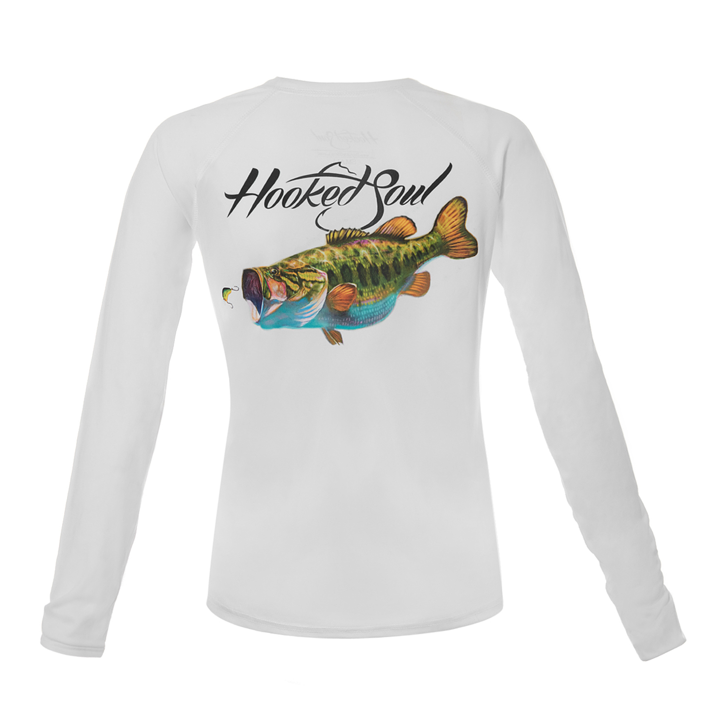 Women 39 s performance long sleeve largemouth bass design for Bass fishing hoodies