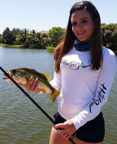 womens largemouth bass white fishing shirt