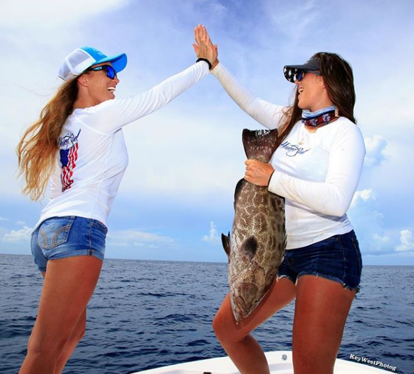 womens american flag fishing shirts