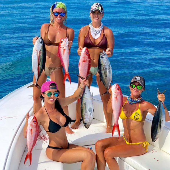 hot women fishing in bikinis
